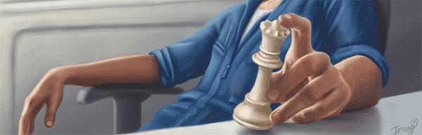 Chess Queen. Homme tenant une dame entre les mains