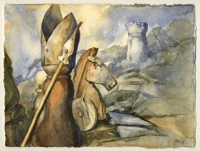 Fou Cavalier Tour. Peinture sur le jeu d'échecs par Samuel Bak