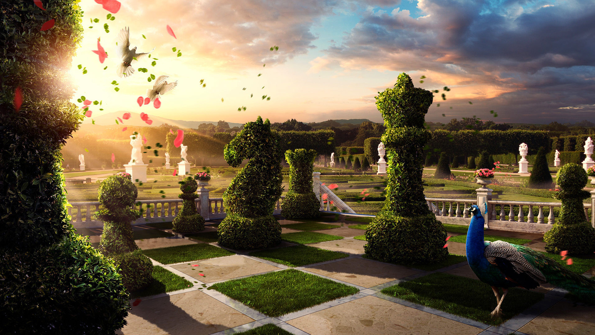 Fond d'écran jeu d'échecs, jardin avec arbres sculptés en forme de pièces d'échecs