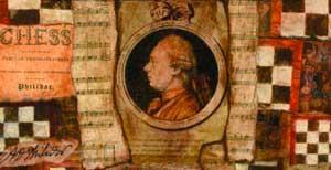 Philidor de profil en couleur sur vieux parchemin
