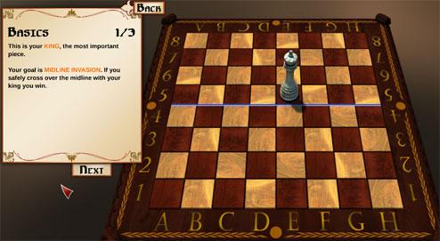 Midline invasion : Le Roi gagne s'il pénètre le camp ennemi.