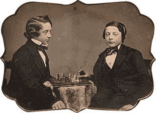 Paul Morphy quand il est jeune et un ami. The Pride and Sorrow of Chess. Photo en noir et blanc