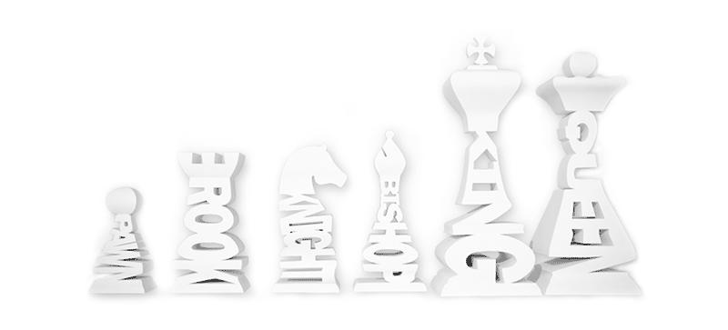 Pour ceux qui ne connaissent pas les pièces, le nom des pièces d'échecs est écrit sur les pièces.