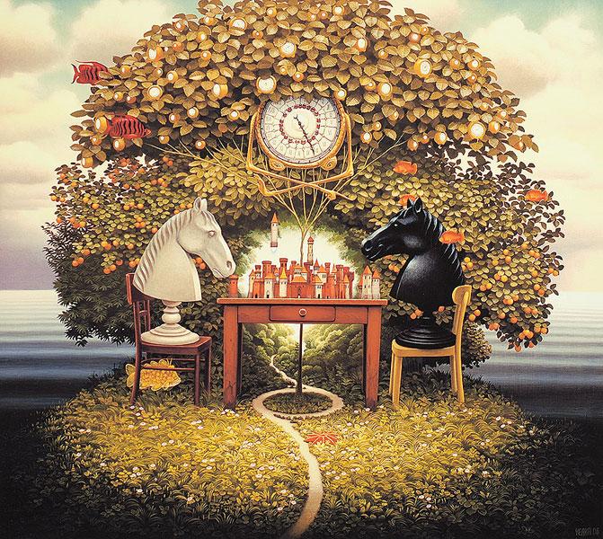variantes du jeu d'échecs. Deux cavaliers jouent aux échecs sous un arbre en feuilles, des poissons volent autour