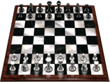 jeu d'échecs gratuit 3d, éhciquier en bois sombre vernis et cases en marbres blanc et noir, très joli !