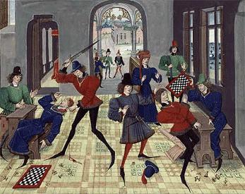 Partie  d'échecs dégénérant en assassinat. Sport violent
