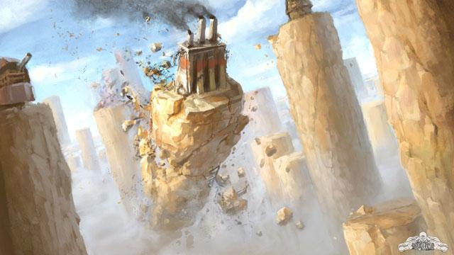 Artwork du jeu green corp, une excavatrice détruit la terre