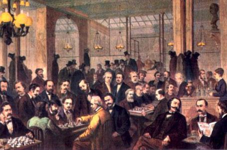 Café de la Régence - Paris, XIXe siècle, salle chaudement éclairée, remplie de Pousseurs de bois moustachus. Hauts de forme noirs accrochés aux portemanteaux