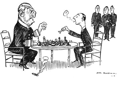 Dessin humoristique d'une aprtie d'échecs en noir et blanc. Un gros monsieur perd et est énervé, il fait tomber son cigare (cigarette) par terre. Son adversaire semble gagner, il est petit et maigre et fait un coeur avec la fumée.