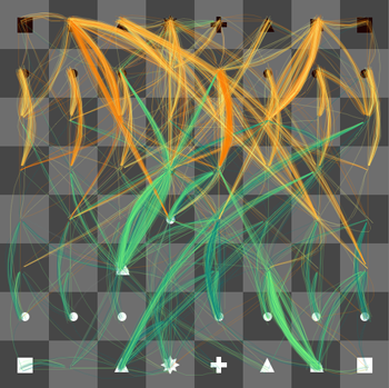 Jeu d'échecs fils multicolores verts oranges infinité de possibilités