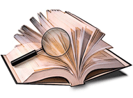 glossary glossaire gros livre ouvert avec loupe qui cherche à l'intérieur