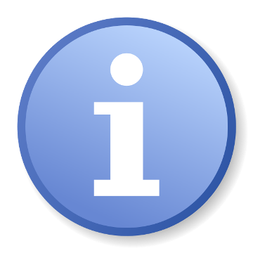 logo à noter information i blanc dans rond bleu