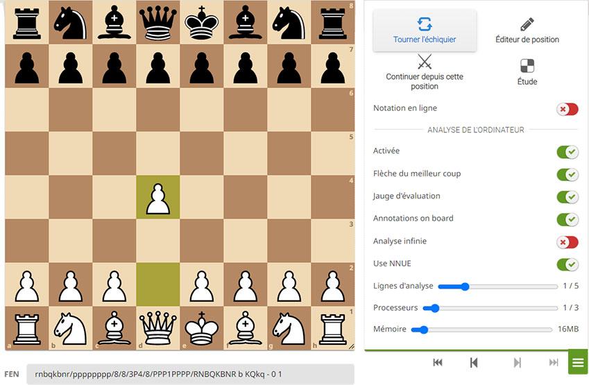 Jouer aux échecs seul ou à deux sur une interface