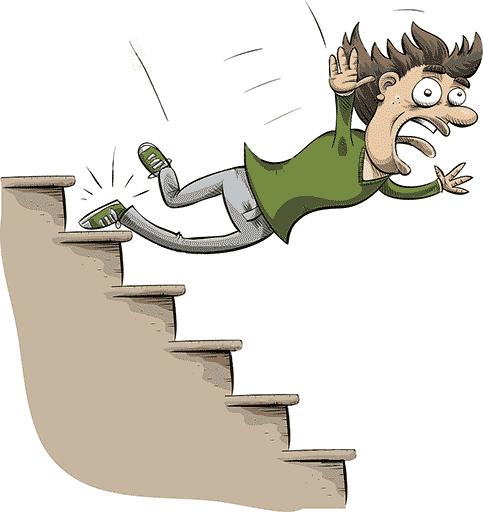 Mat de l'Escalier. (Dessin d'un bonhomme en train de tomber dans les escaliers) Bouche ouverte, langue tirée
