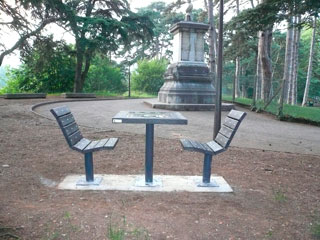 Tables d'échecs du Parc de la Tête d'Or sous les cèdres