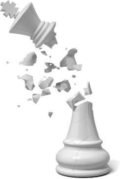 Roi (pièce d'échecs) qui explose. Mat. Se brise