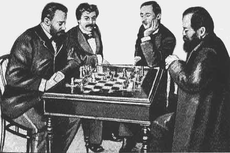 Tchigorin, le Dr Lasker, Steinitz et Pillsburry lors du tournoi de Saint-Petersbourg de 1895 à 1896.